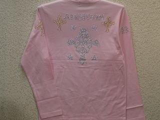ビーアンビション 長袖VネックTシャツ ラインストーンクロス BE AMBITION 【コンビニ受取対応商品】