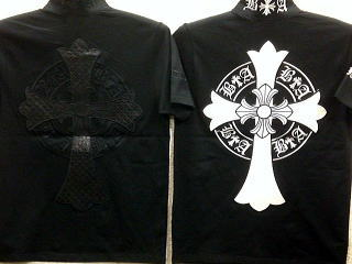 BE AMBITION 半袖ジップアップTシャツ  クロス刺繍 ビーアンビション【コンビニ受取対応商品】