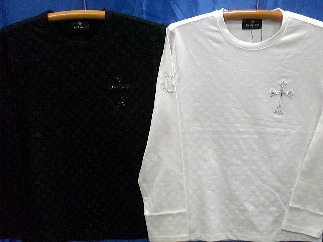 BE AMBITION  モノグラム柄長袖Tシャツ クロスワッペン ビーアンビション【コンビニ受取対応商品】