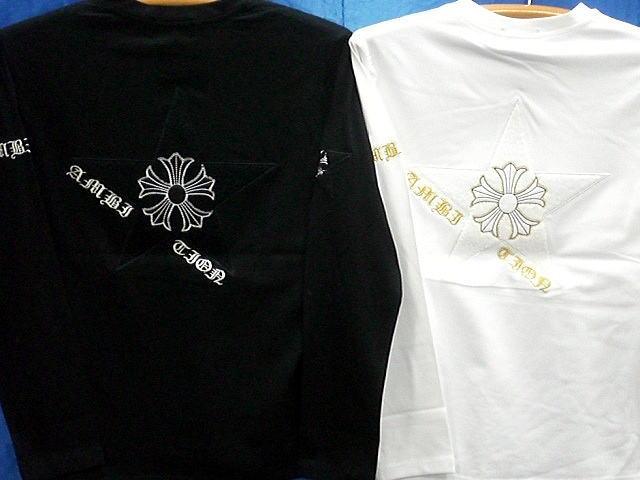BE AMBITION  長袖Tシャツ Vネック スターモール刺繍に百合 ビーアンビション【コンビニ受取対応商品】
