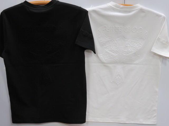 大きいサイズ Be Ambition 半袖Tシャツ クロス&ロゴ エンボス ビーアンビション