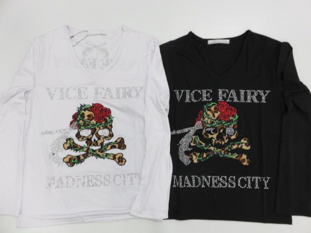 VICE FAIRY ヴァイスフェアリー 代引き不可 MADNESS SKULL 日本正規品 コンビニ受取対応商品 ラインストーン 長袖Tシャツ スカル