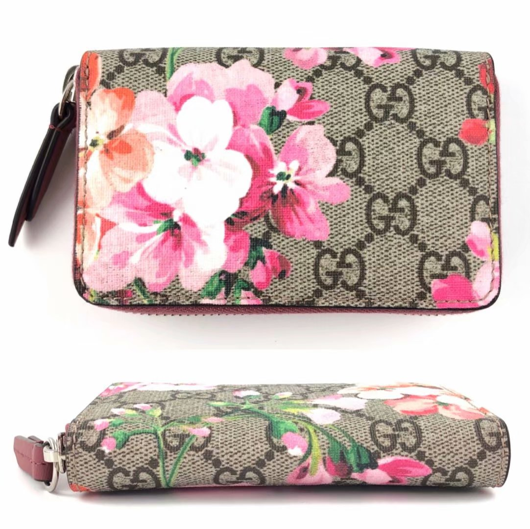 a91a54fc6db8fc ... Gucci wallet coin purse coin case round fastener Lady's GG bloom flower  421310 GUCCI is used ...