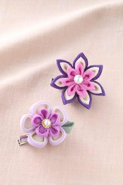 つまみ細工 お花のブローチ [LH-379 (紫)] 【パナミ手芸メーカー直販 タカギ繊維】