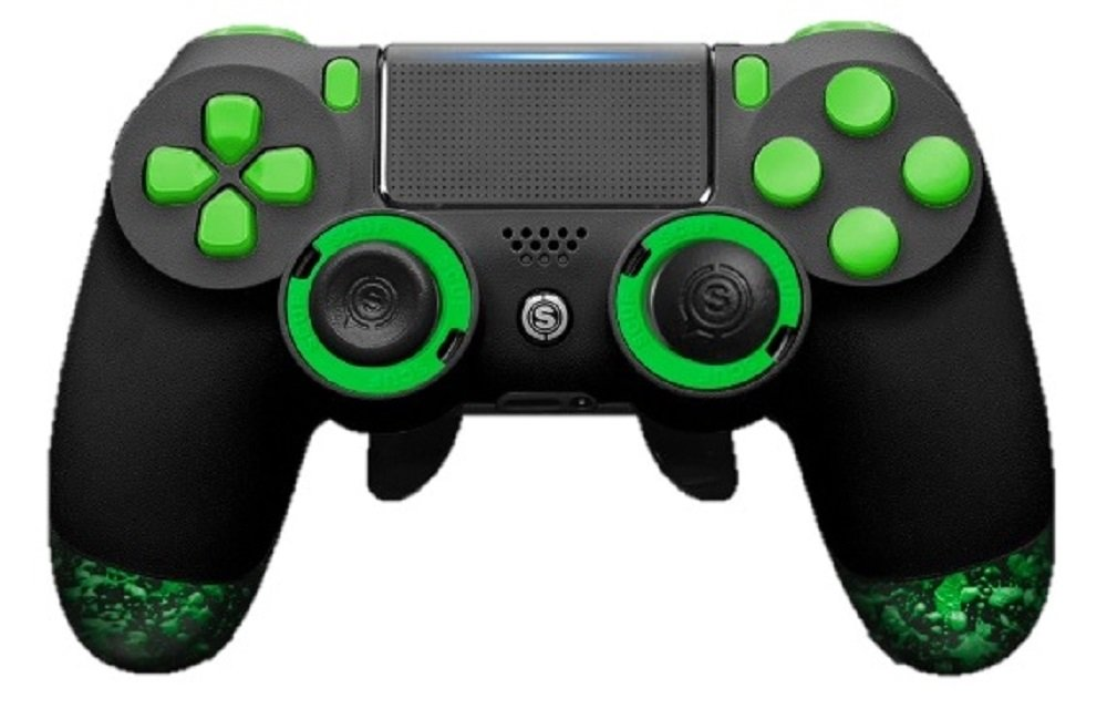 SCUF(スカフ) Infinity 4PS PRO (EMR / トリガーシステム / Greenミリタリーグレードグリップ / L凹型Regular, R凸型Long) PS4対応コントローラー [並行輸入品]