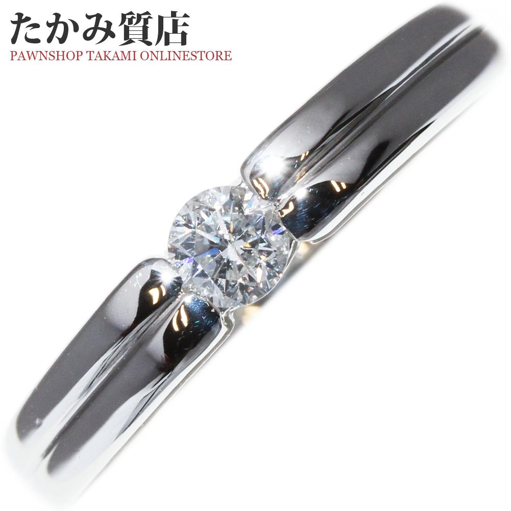 指輪 リング Pt850 ダイヤ0.21ct 一粒ダイヤ 10.5号 中古 新品仕上げ