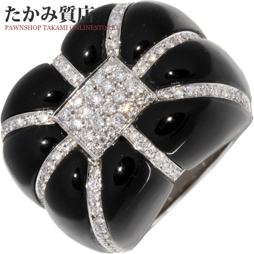指輪 リング K18WG オニキス ダイヤ 14.5号 中古 新品仕上げ