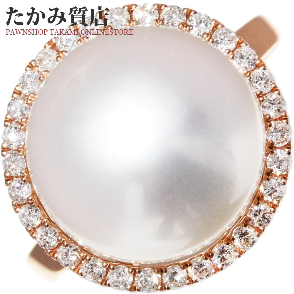 指輪 リング K18PG パール 真珠 11.6ミリ ダイヤ0.24ct 9.5号