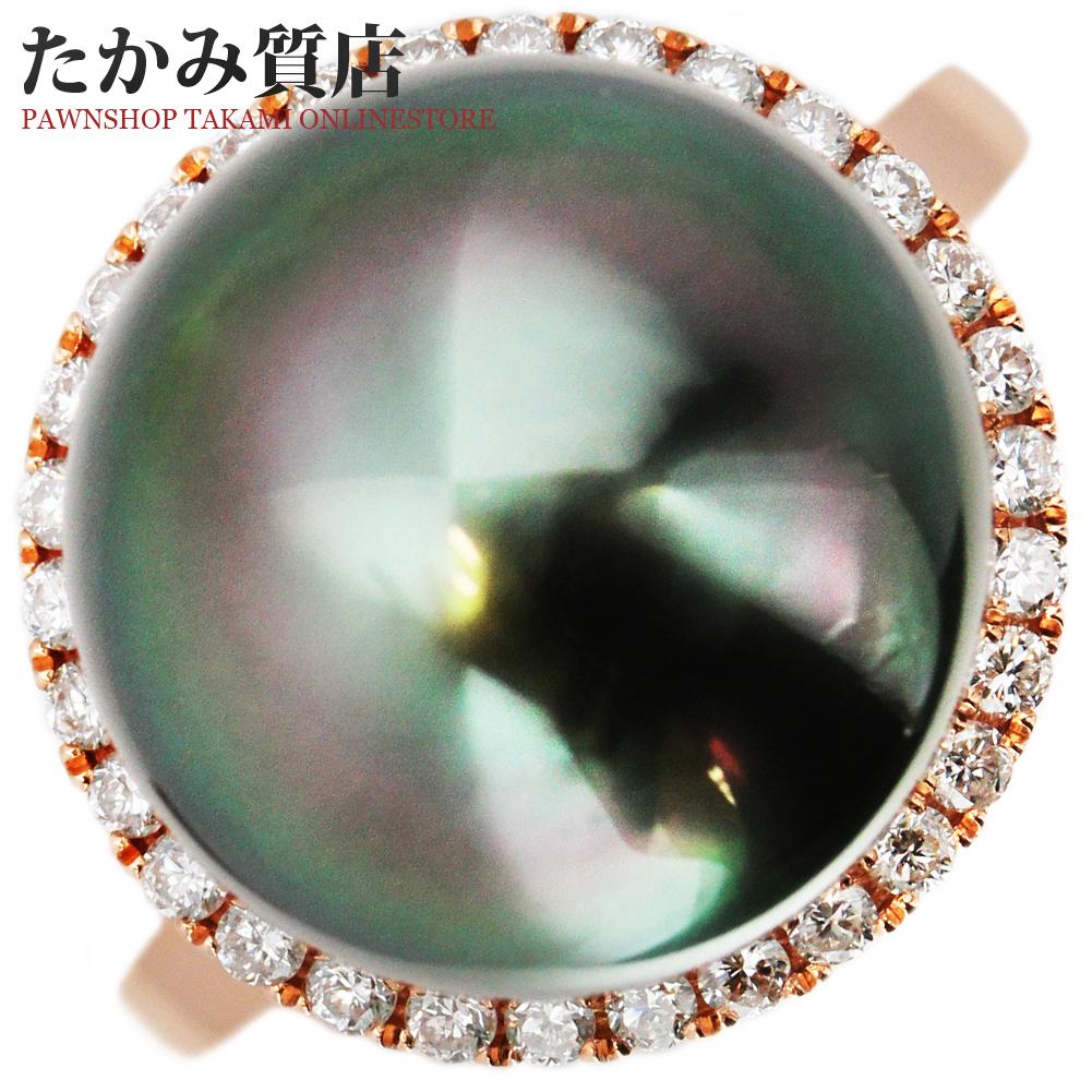 指輪 リング K18PG ブラックパール 黒蝶真珠 12.3ミリ ダイヤ0.24ct 9.5号