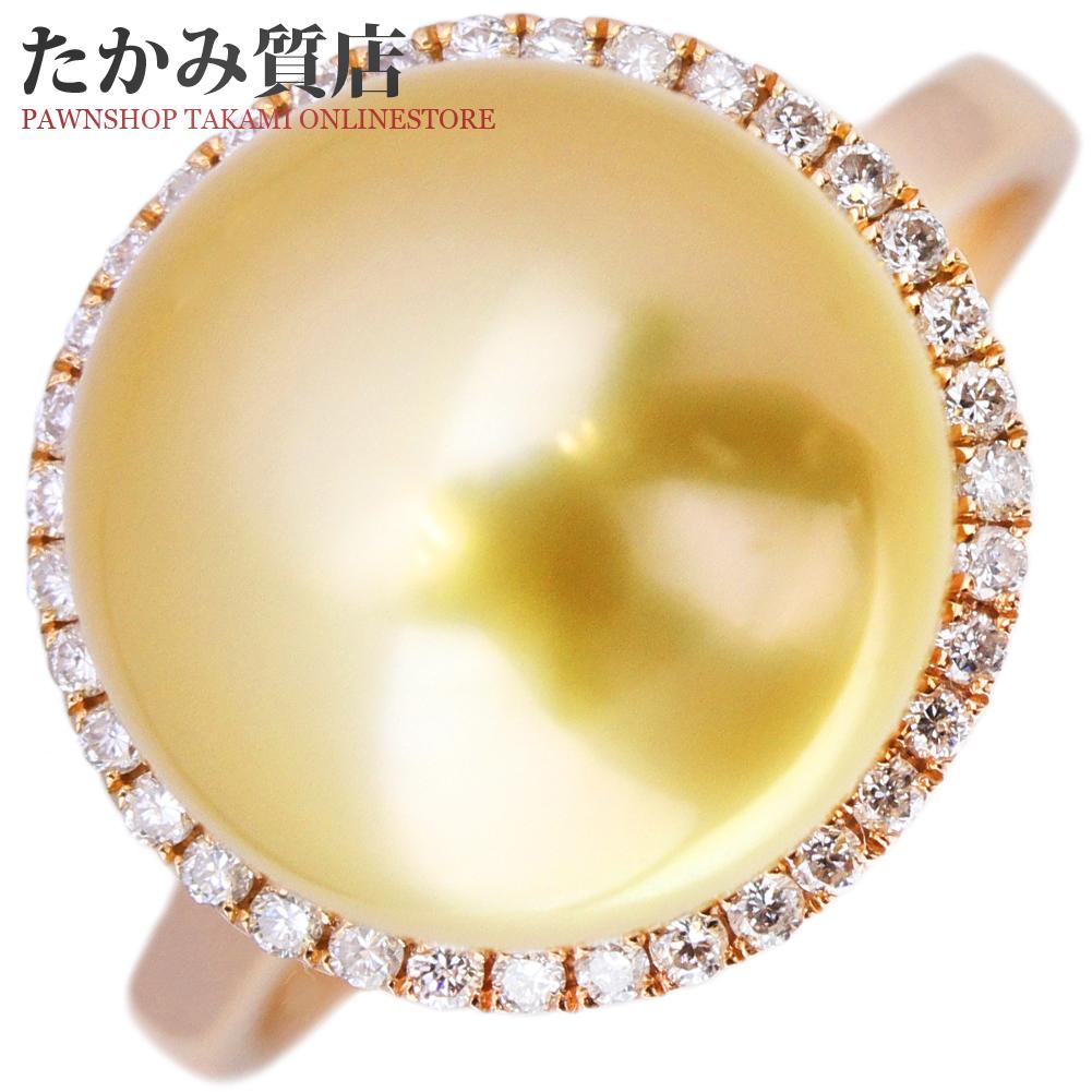 指輪 リング K18PG ゴールデンパール 真珠 11.6ミリ ダイヤ0.16ct 9.5号