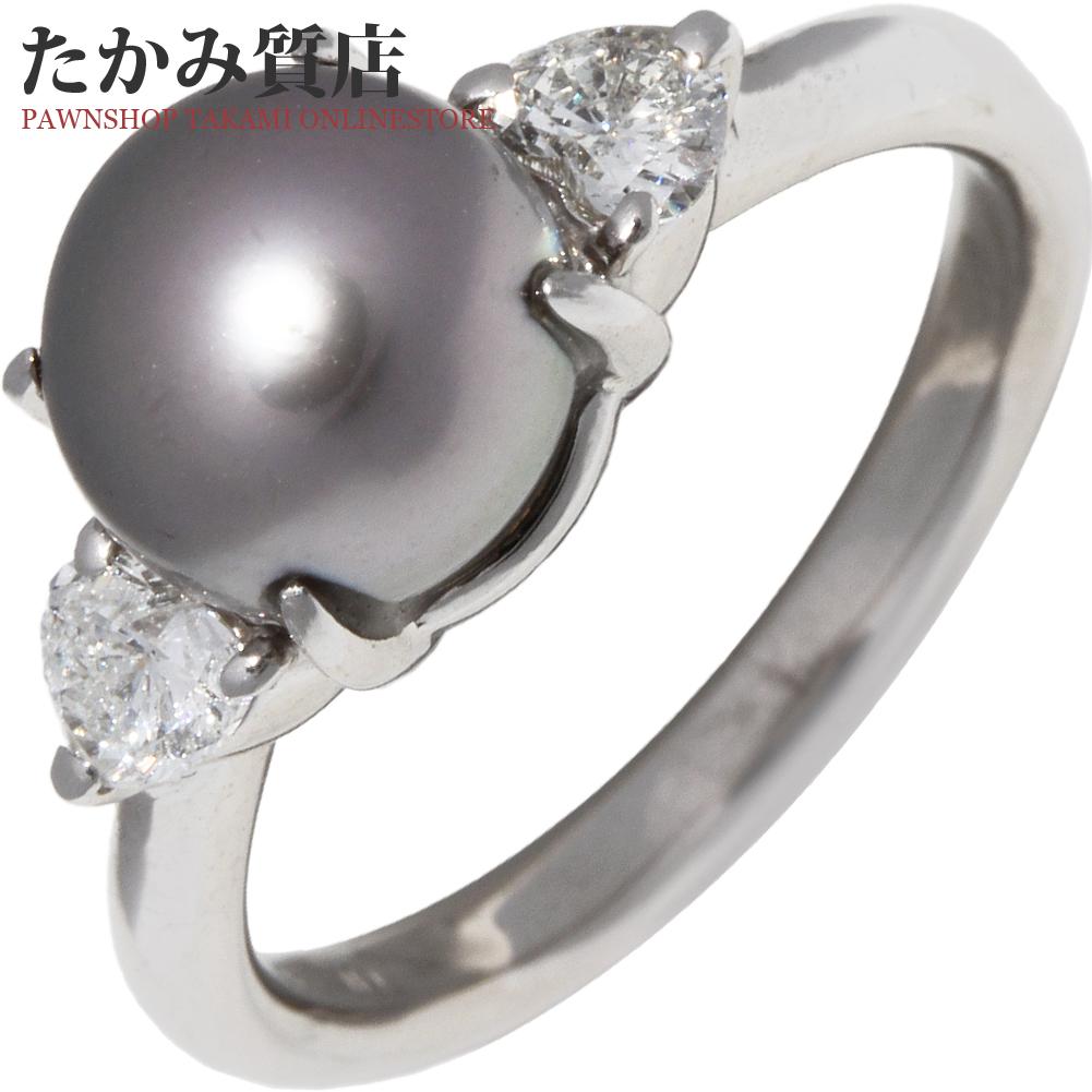 指輪 リング Pt900 セミブラックパール 黒蝶真珠 7.6ミリ ダイヤ0.29ct 9.5号 中古 新品仕上げ