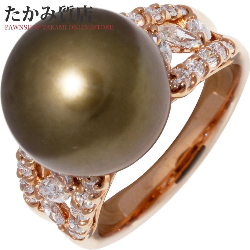 指輪 リング K18PG ブラウンパール14ミリ ダイヤ1.00ct 18.5号 中古 新品仕上げ