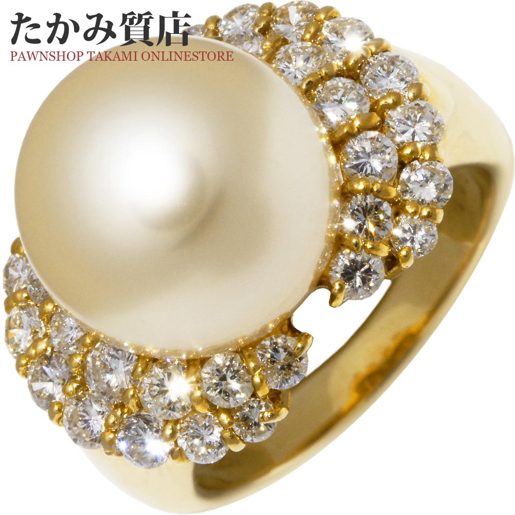 指輪 リング K18YG ゴールデンパール 真珠 12.1ミリ ダイヤ1.28ct 11.5号 中古 新品仕上げ