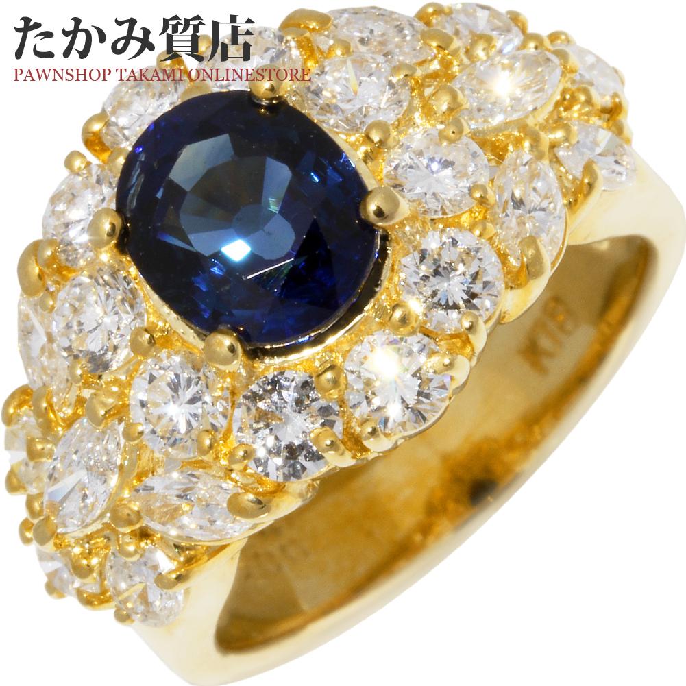 指輪 リング K18YG サファイア2.24ct ダイヤ2.00ct 10号 中古 新品仕上げ