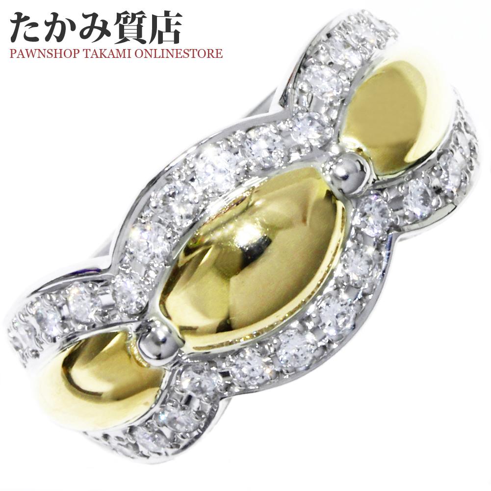 指輪 リング K18YG Pt900 ダイヤ0.53ct 11.5号 中古 新品仕上げ