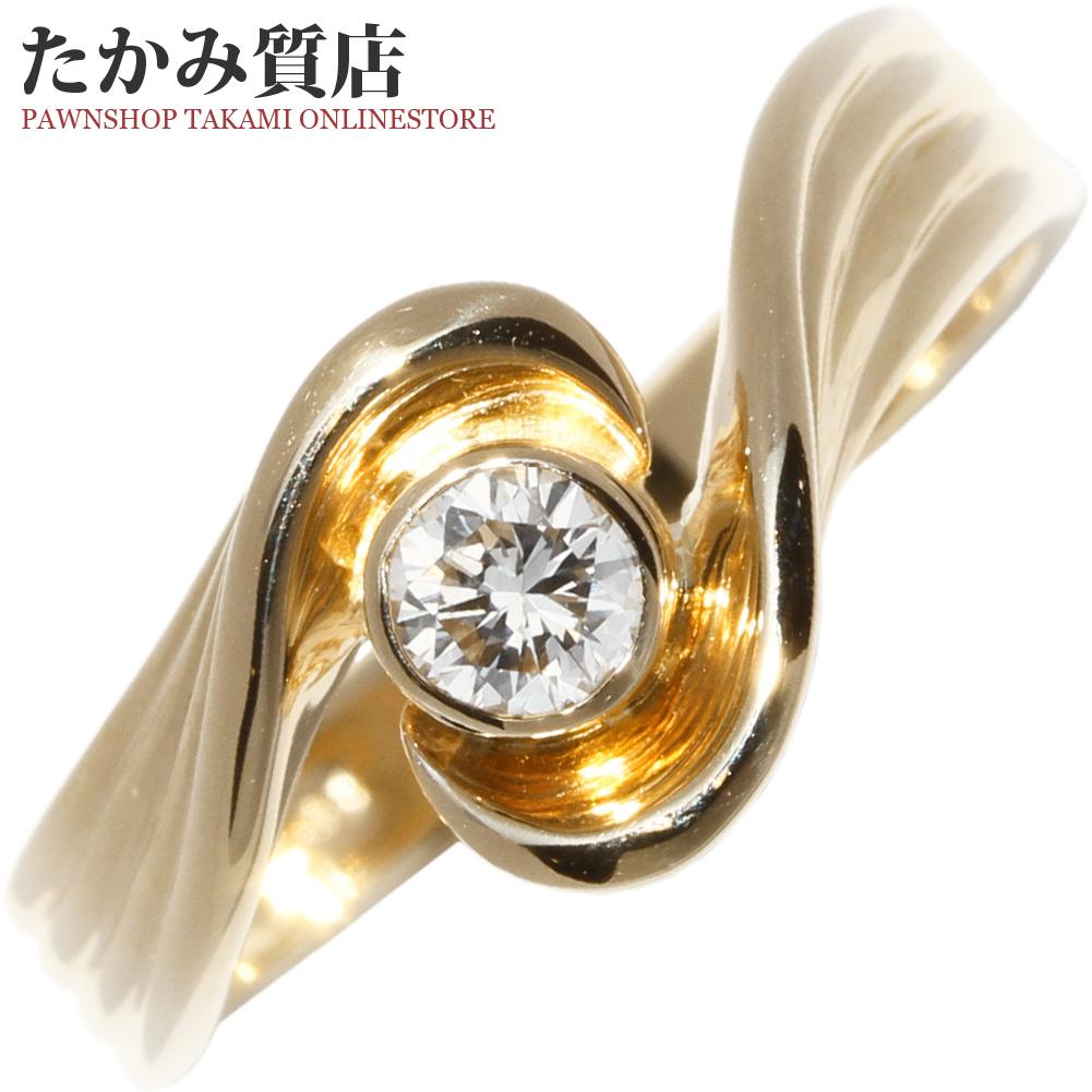 指輪 リング K18YG ダイヤ0.18ct 11.5号 中古 新品仕上げ