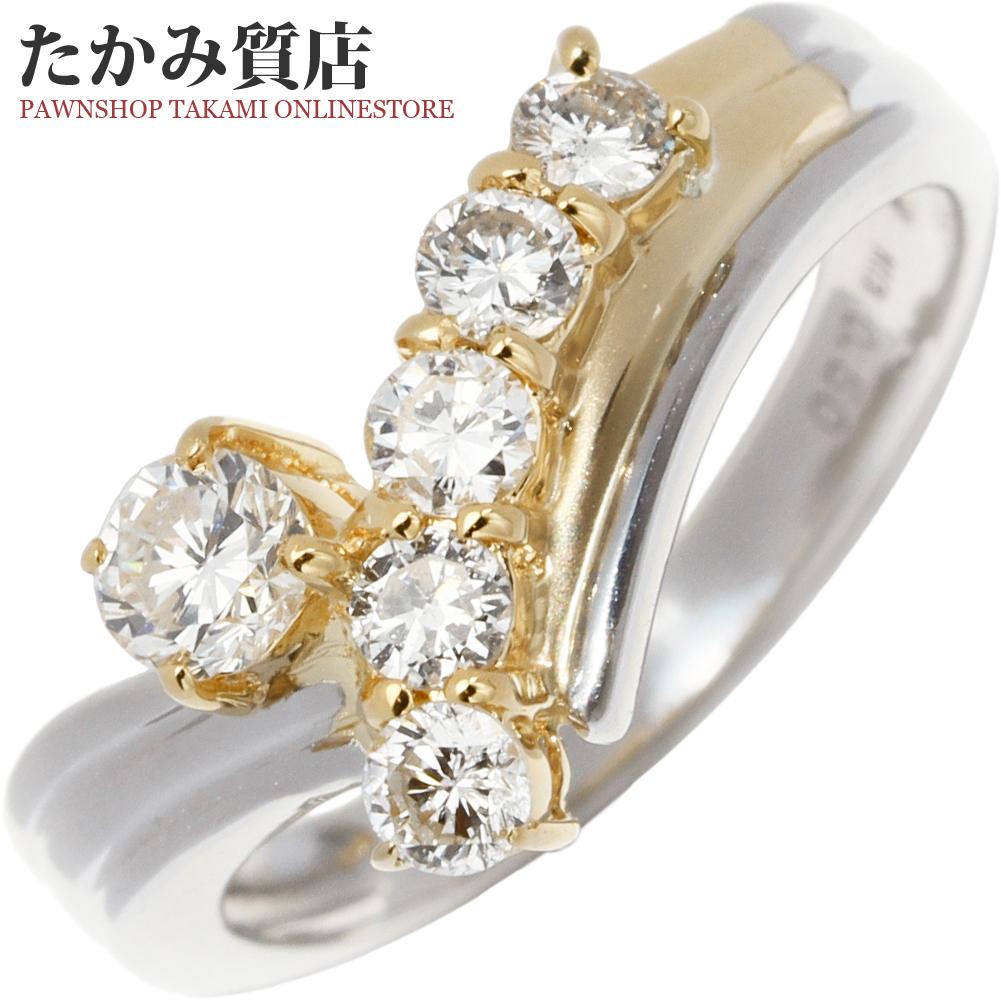 指輪 リング K18YG Pt900 ダイヤ0.50ct 9.5号 中古 新品仕上げ