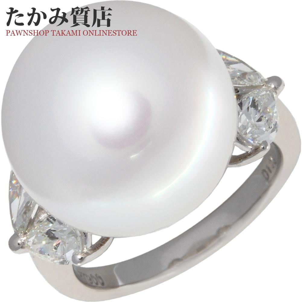 指輪 リング Pt900 パール 真珠 フェニックス 15.8ミリ ダイヤ1.05ct 12号 中古 新品仕上げ