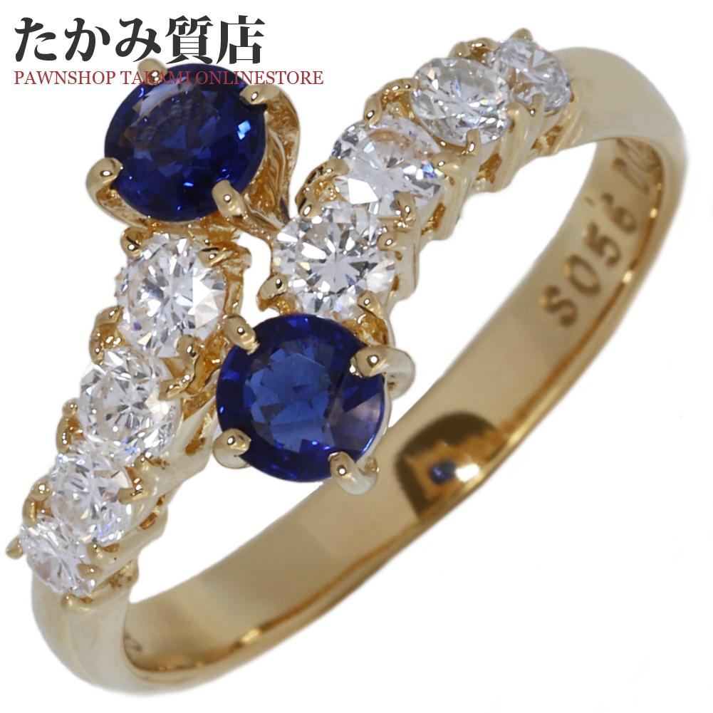 指輪 リング K18YG サファイア0.56ct ダイヤ0.48ct 11.5号 中古 新品仕上げ