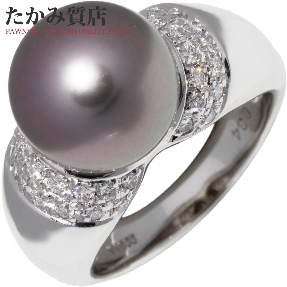 指輪 リング Pt900 セミブラックパール 真珠 11.3ミリ ダイヤ0.34ct 12号 中古 新品仕上げ