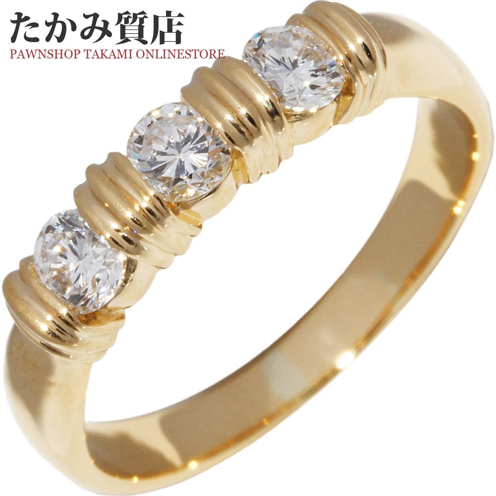 指輪 リング K18YG ダイヤ0.56ct 15号 中古 新品仕上げ