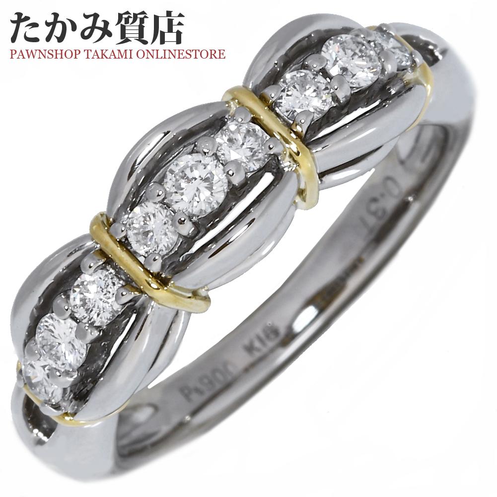 指輪 リング Pt900 K18YG ダイヤ0.31ct 11.5号 中古 新品仕上げ