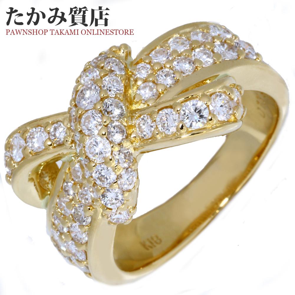 指輪 リング K18YG ダイヤ1.50ct リボン パヴェダイヤ 12.5号 中古 新品仕上げ