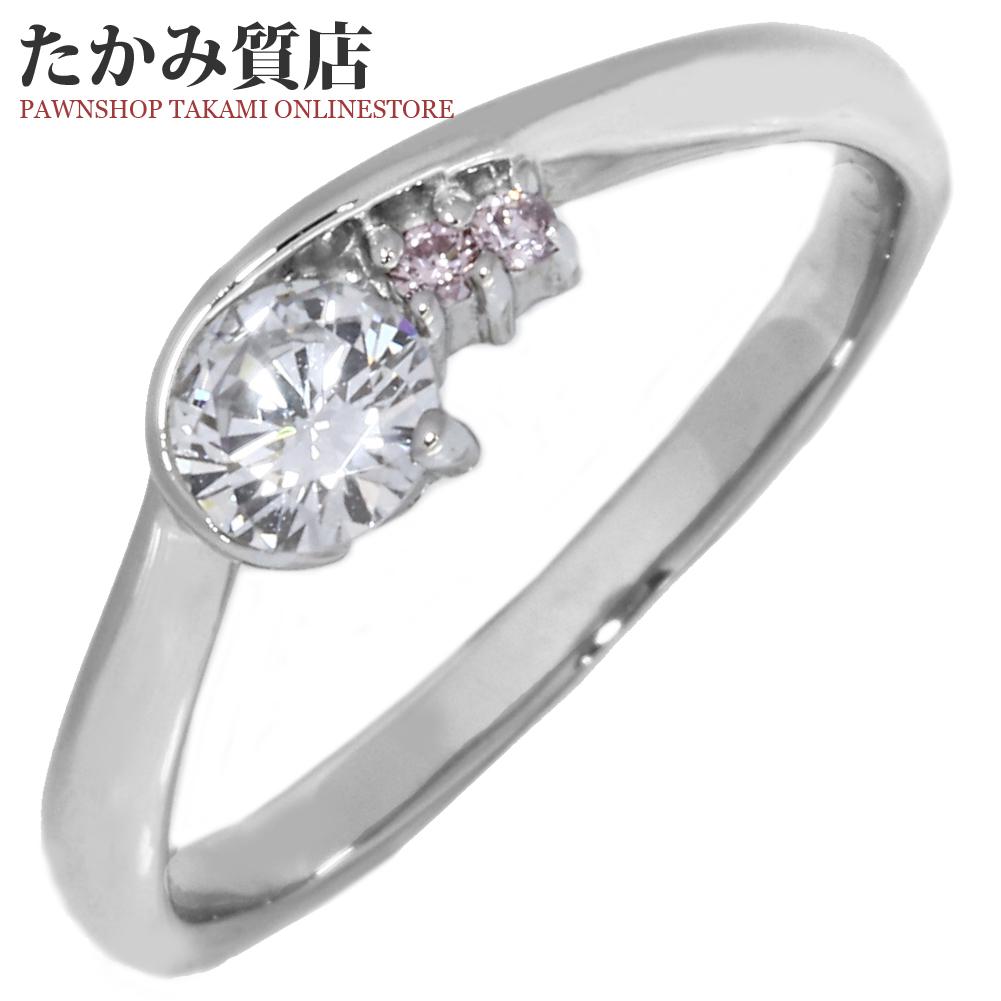 指輪 リング Pt900 ダイヤ0.250ct ピンクダイヤ0.02ct 8.5号 中古 新品仕上げ