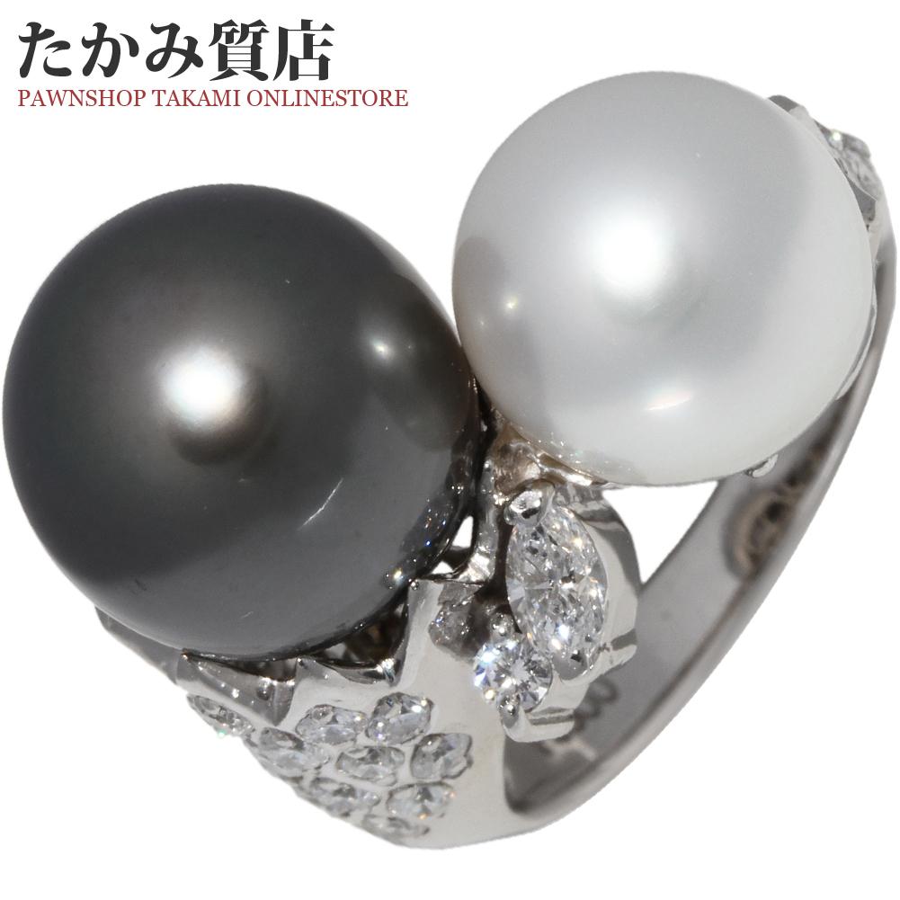 指輪 リング Pt900 ブラックパール 真珠 11.2ミリ パール 真珠 10.1ミリ ダイヤ0.87ct 11号 中古 新品仕上げ