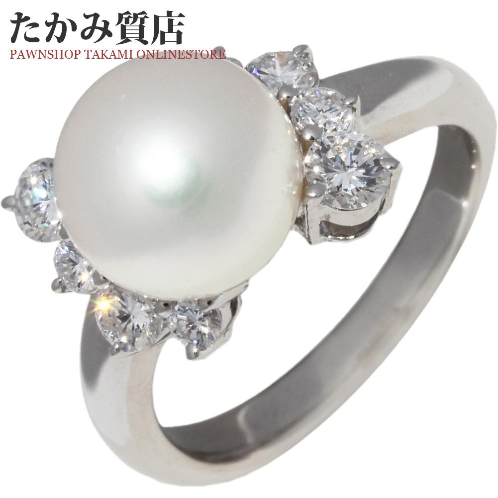 指輪 リング Pt900 パール 真珠 8.9ミリ ダイヤ0.59ct 9.5号 中古 新品仕上げ