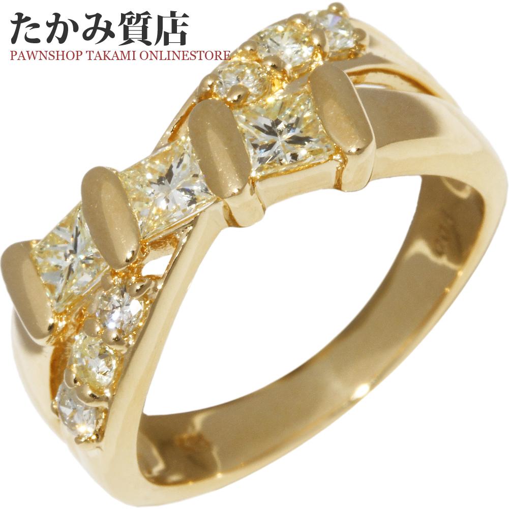 指輪 リング K18YG ダイヤ1.00ct 12.5号 中古 新品仕上げ