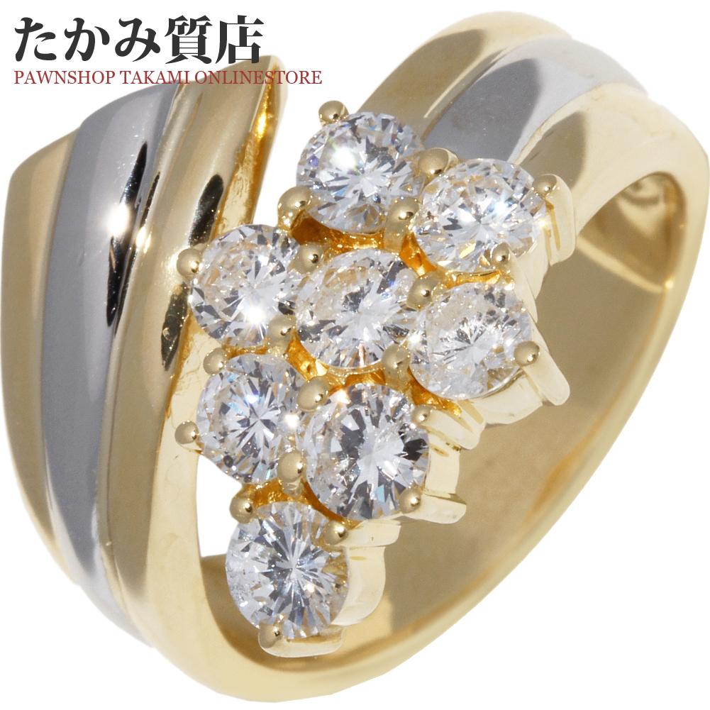 指輪 リング K18YG Pt900 ダイヤ1.07ct 11号 中古 新品仕上げ