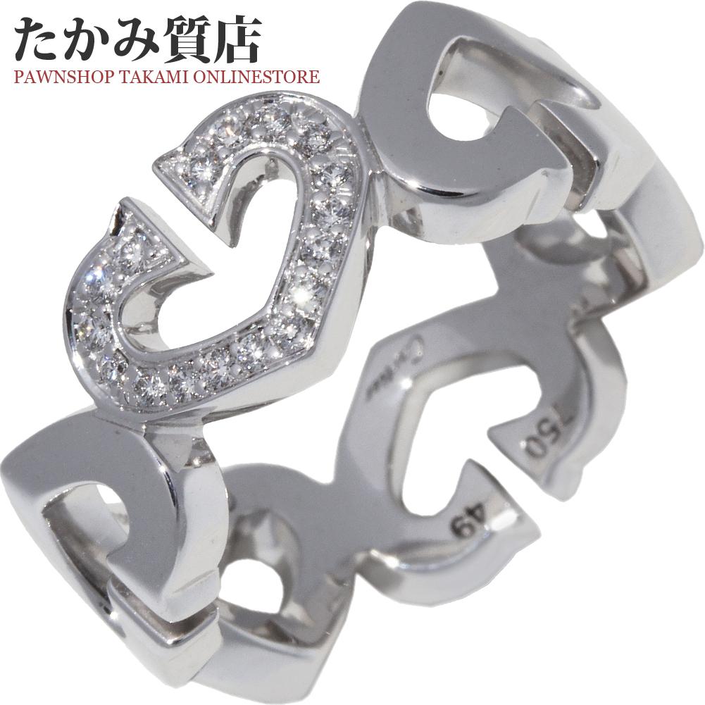 カルティエ 指輪 リング K18WG ダイヤ17P 0.06ct 1モチーフダイヤ Cハートリング B40415 #49 9号 中古