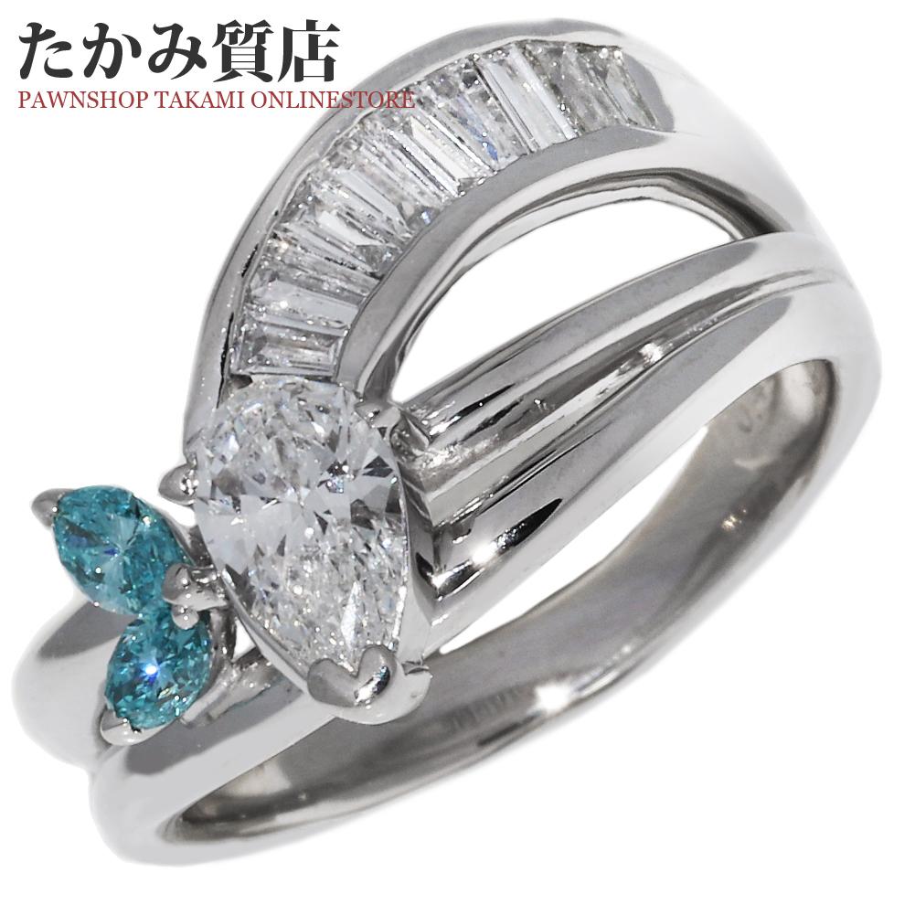 指輪 リング Pt900 マーキスカットダイヤ0.412ct ブルーダイヤ×ダイヤ0.48ct 10.5号 中古 新品仕上げ