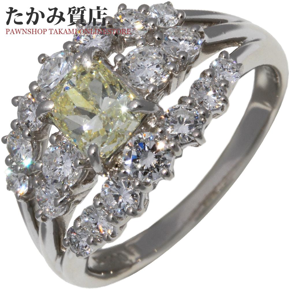 指輪 リング Pt900 ダイヤ0.937ct VERYLIGHTYELLOW-VS2-ファンシーカット-BLUE ダイヤ1.24ct 16号 中古 新品仕上げ