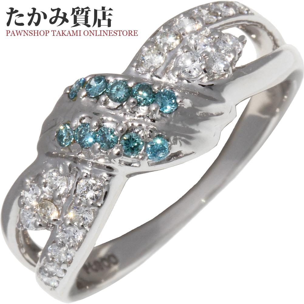 指輪 リング Pt900 ブルーダイヤ×ダイヤ0.36ct 12号 中古 新品仕上げ