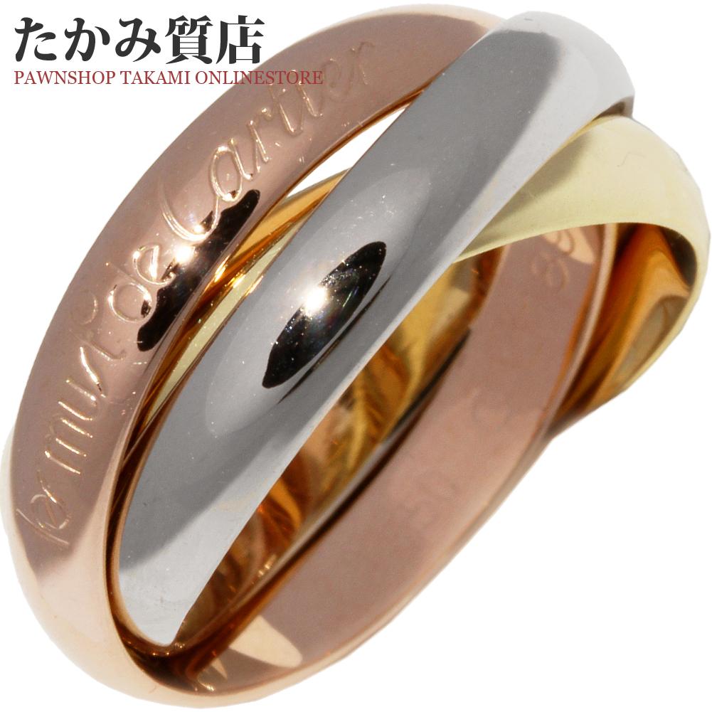 送料無料 Cartier 指輪 リング 中古A 並行輸入品 年末年始大決算 カルティエ K18YG K18PG K18WG 幅3.4ミリ トリニティリング 9.5号 #50