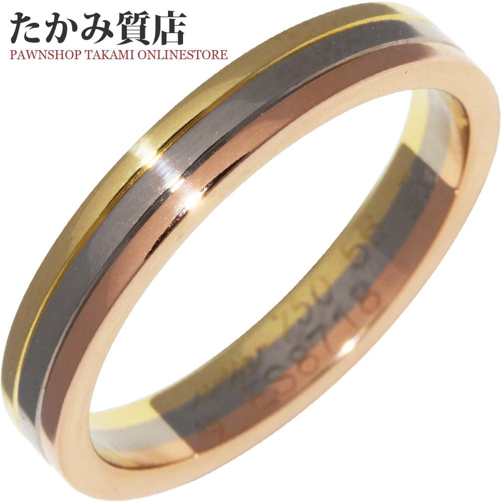 特別セール品 送料無料 Cartier 指輪 中古A カルティエ K18YG K18WG B40522 ブランド激安セール会場 幅3.5ミリ #56 15.5号 トリニティウェディングリング K18PG