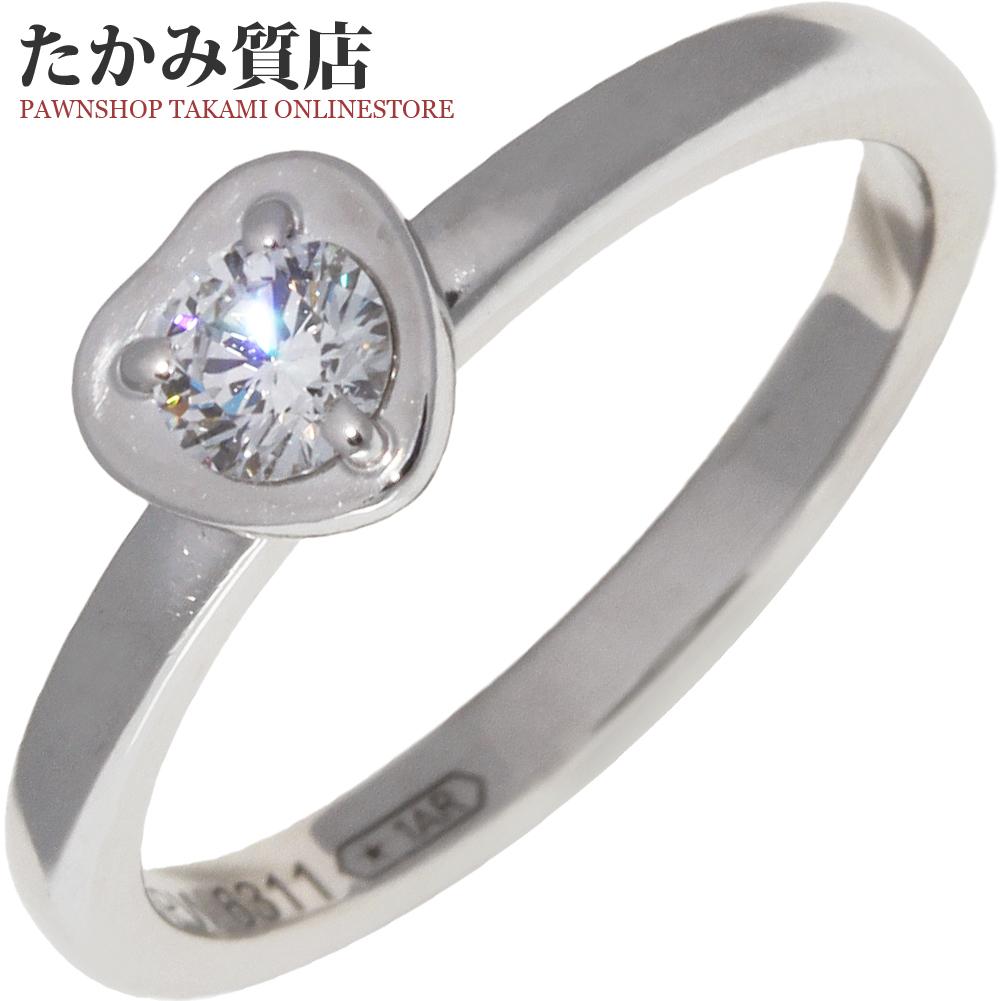 送料無料 Cartier 指輪 中古A カルティエ K18WG お買い得 ダイヤ1P ディアマンレジェリング 6.5号 人気海外一番 ハートモチーフ B40879 0.13ct #47