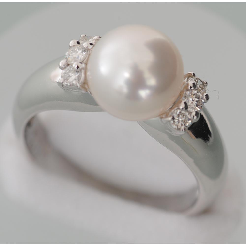 【A51】 Pt900 プラチナ900 パール、メレダイヤ入り デザインリング(指輪) 中古品