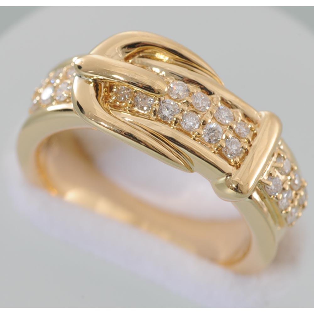 【C01】 k18 イエローゴールド ダイヤモンド ベルト・デザイン・リング ( 指輪) 中古品仕上げ済み