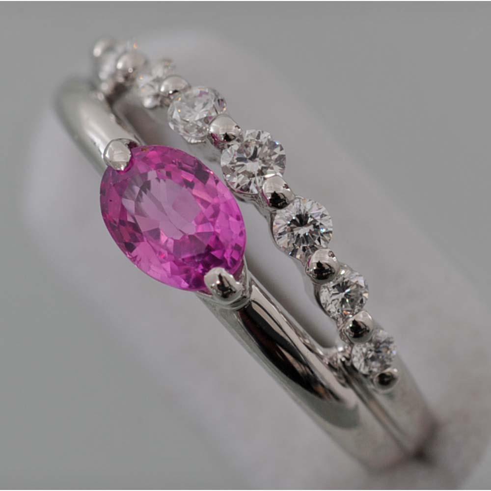 【C53】 Pt900 プラチナ ピンクサファイヤ (天然コランダム) メレダイヤ デザイン・リング( 指輪 ) 中古品仕上げ済み