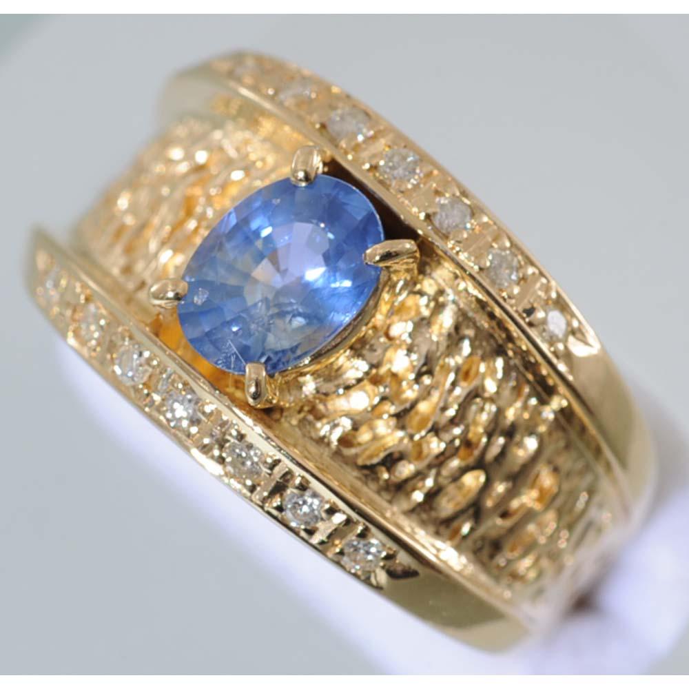 【D27】 k18 イエローゴールド ブルーサファイヤ1.04ct メレダイヤ デザイン・リング(指輪) 中古品仕上げ済み