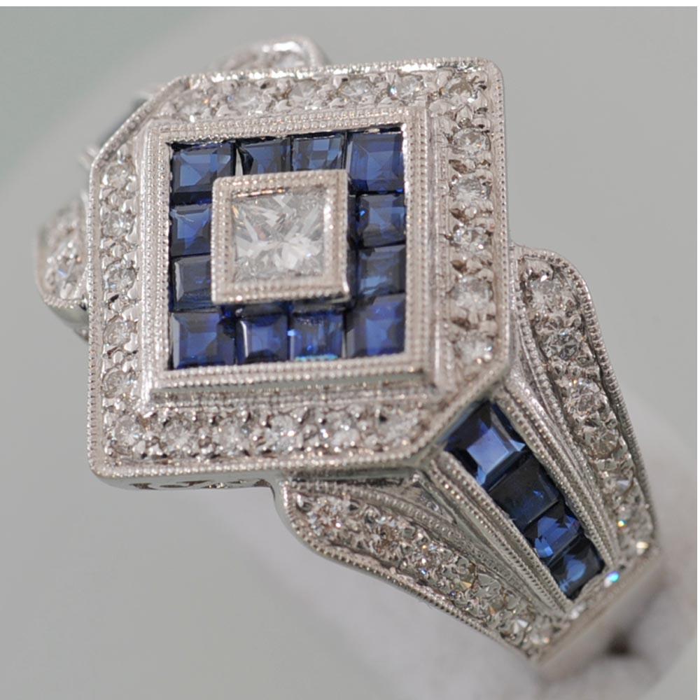 【A26】 K18 ホワイトゴールド サファイヤ 1.12ct ダイヤ 0.50ct リング 指輪 中古品仕上げ済み
