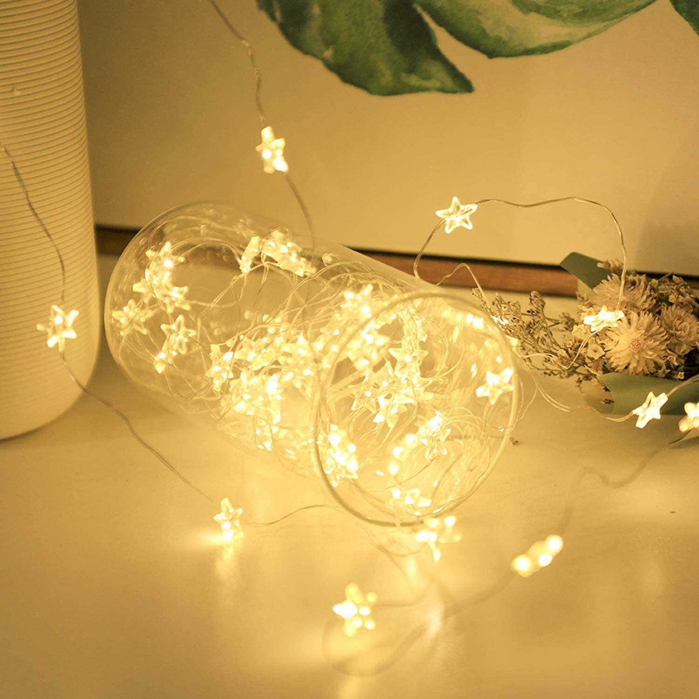 簡単に可愛く設置できるイルミネーションライト 彡 星形 Salcar お得セット 10m100球 USB式LEDイルミネーションライト 銅線ワイヤーライト ハロウィン電球色 ウォームホワイト 結婚式 部屋飾り イルミネーションライト 初回限定 クリスマス