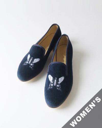 Broadland SLIPPERS ブロードランド スリッパ スリッポン 【レディース】 Victoria Slipper Embroidered Velvet Women ビクトリアスリッパ ベルベット BL-07 【送料無料】