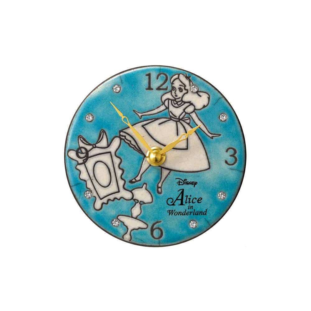 送料無料 リズム RHYTHMディズニー アートクロック「Pottery Clock/Alice&Winnie the Pooh」アート キャラクター Disney アリス 絵 ザッカレラ アントニオ くまのプーさん ぷーさん クォーツ 陶器 陶芸 掛置兼用 置時計 掛時計 クオーツ