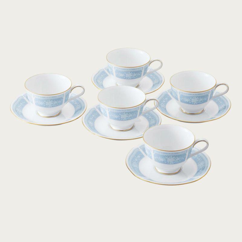 【ノリタケ】レースウッドゴールド ティー・コーヒー碗皿5客セット内祝い お返し 出産内祝い 結婚お祝い 結婚内祝い プレゼント 誕生日 コーヒー5客セット