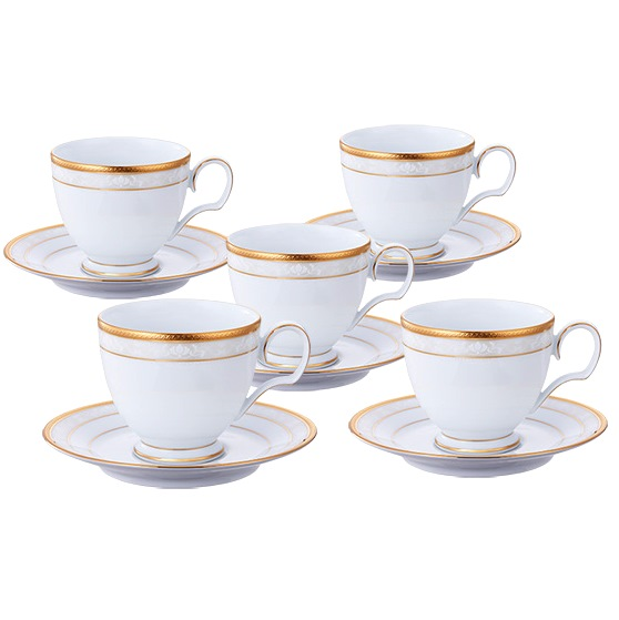 【ノリタケ】ハンプシャーゴールド ティー・コーヒー碗皿5客セット内祝い お返し 出産内祝い 結婚お祝い 結婚内祝い プレゼント 誕生日 コーヒー5客セット