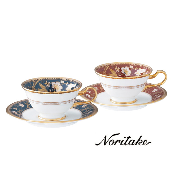 【ノリタケ】≪サブライム≫ティー・コーヒー碗皿ペアセット(鉄紺・海老茶)ペア碗皿 内祝い お返し 出産内祝い 結婚お祝い 結婚内祝い 母の日 父の日 誕生日プレゼント コーヒーペアセット